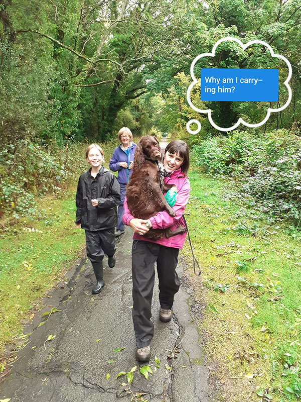 Charlie (the dog) being carried down The Tarry Path Rusthall