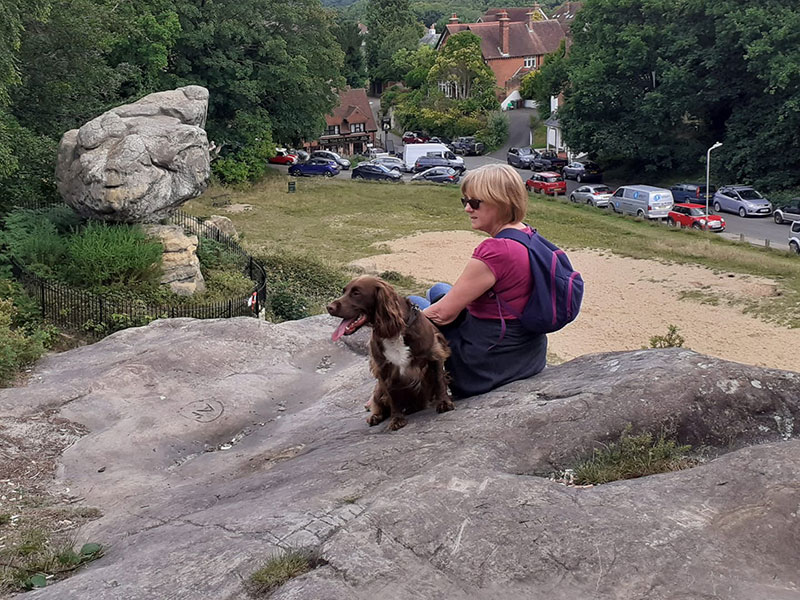 Charlie (the dog) and Valerie basking in the sun and overlooking Toad Rock